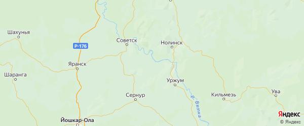 Карта Лебяжского района Кировской области с городами и населенными пунктами