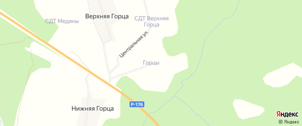 Карта территории сдт Горцы (Загарье) в Кировской области с улицами и номерами домов