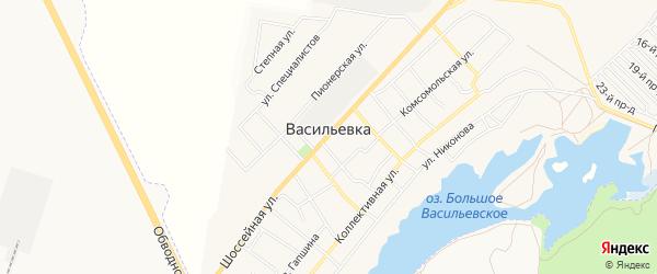 Карта села Васильевки в Самарской области с улицами и номерами домов