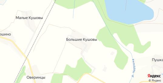 Карта деревни Большие Кушовы в Кирове с улицами, домами и почтовыми отделениями со спутника онлайн