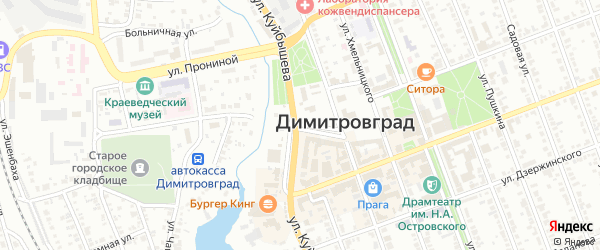 Улица Серова на карте Димитровграда с номерами домов