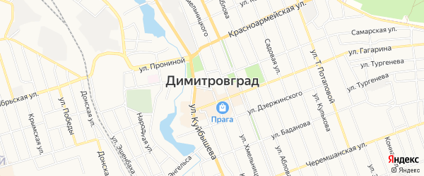 Садовое товарищество Рассвет-1 на карте Димитровграда с номерами домов