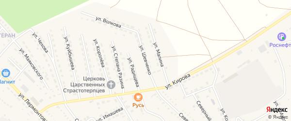 Улица Шевченко на карте поселка Озинки Саратовской области с номерами домов