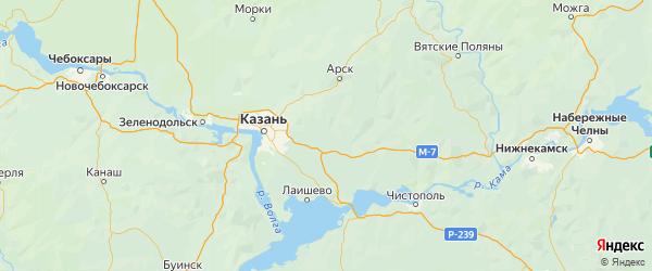 Карта Пестречинского района Республики Татарстана с городами и населенными пунктами