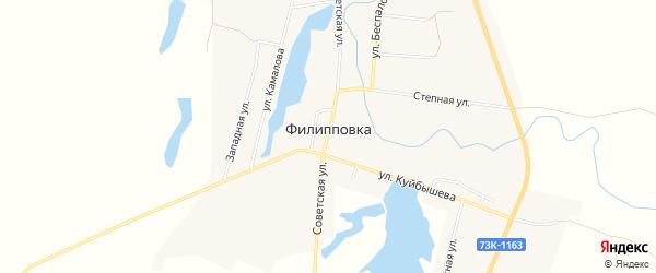 Карта села Филипповки в Ульяновской области с улицами и номерами домов