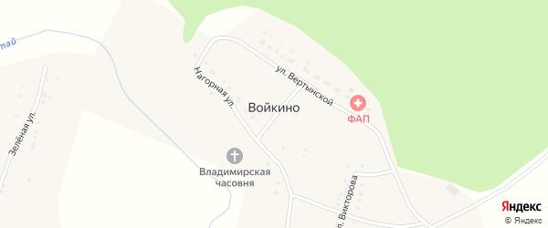 Нагорная улица на карте села Войкино Татарстана с номерами домов