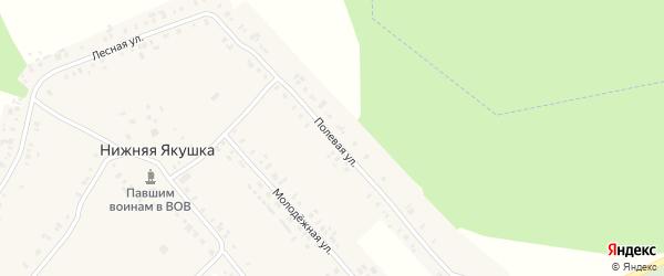 Полевая улица на карте села Нижней Якушки Ульяновской области с номерами домов