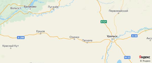 Карта Озинского района Саратовской области с городами и населенными пунктами