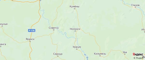 Карта Нолинского района Кировской области с городами и населенными пунктами