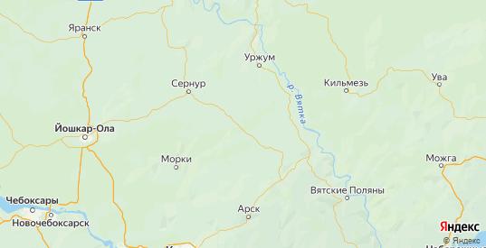 Карта Мари-турекского района республики Марий Эл с городами и населенными пунктами