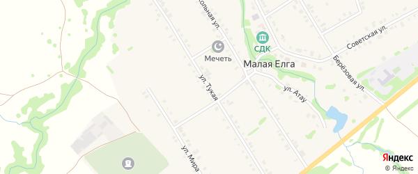 Тукая улица на карте села Малой Елги Татарстана с номерами домов