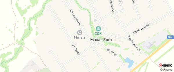 Школьная улица на карте села Малой Елги Татарстана с номерами домов
