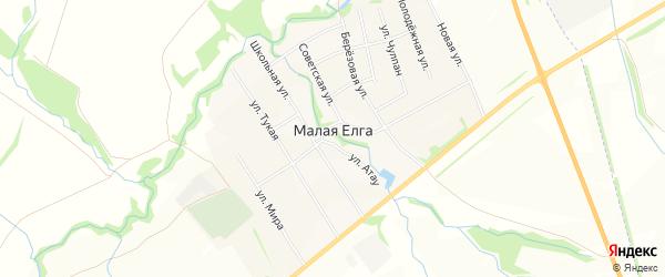 Карта села Малой Елги в Татарстане с улицами и номерами домов