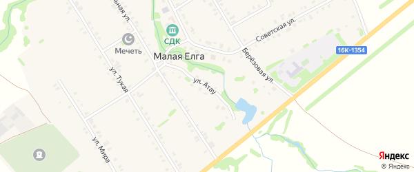Улица Атау на карте села Малой Елги Татарстана с номерами домов