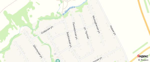 Пионерская улица на карте села Малой Елги Татарстана с номерами домов