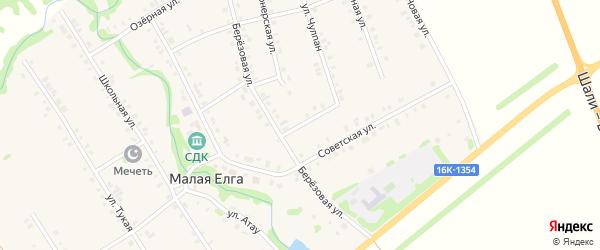 Березовая улица на карте села Малой Елги Татарстана с номерами домов