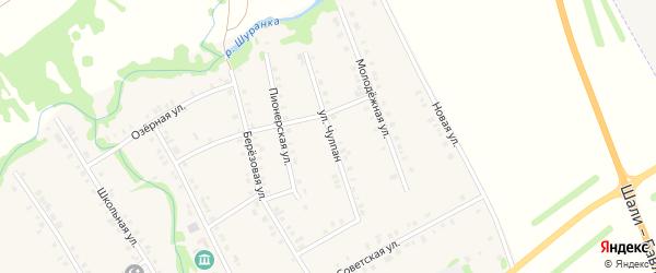 Улица Чулпан на карте села Малой Елги Татарстана с номерами домов