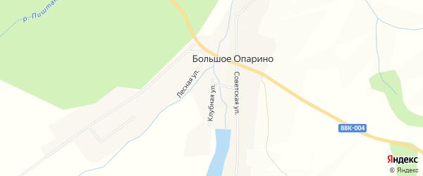 Карта деревни Большое Опарино в Марий Эл с улицами и номерами домов