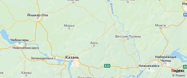 Карта Арского района Республики Татарстана с городами и населенными пунктами