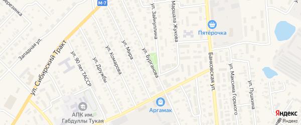 Улица Бурганова на карте Арска с номерами домов
