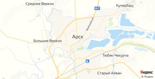Карта Арска с улицами и домами подробная. Показать со спутника номера домов онлайн