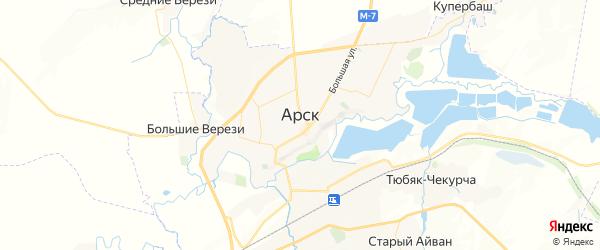 Карта Арска с районами, улицами и номерами домов