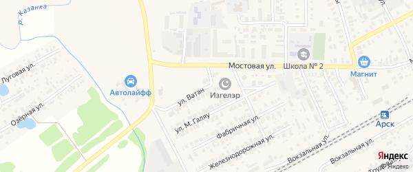 Улица Ватан на карте Арска с номерами домов