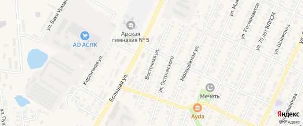 Восточная улица на карте Арска с номерами домов