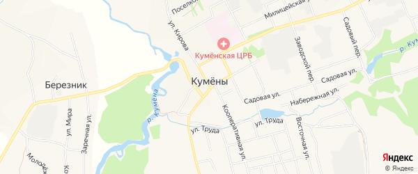Территория гаражный кооператив Модуль на карте поселка Кумен Кировской области с номерами домов