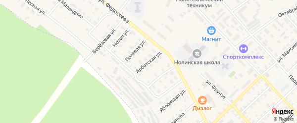 Арбатская улица на карте Нолинска с номерами домов