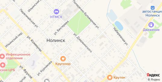 Улица Дзержинского в Нолинске с номерами домов на карте. Спутник и схема онлайн