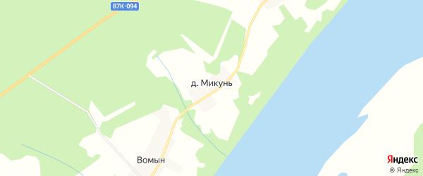 Карта деревни Микуня в Коми с улицами и номерами домов