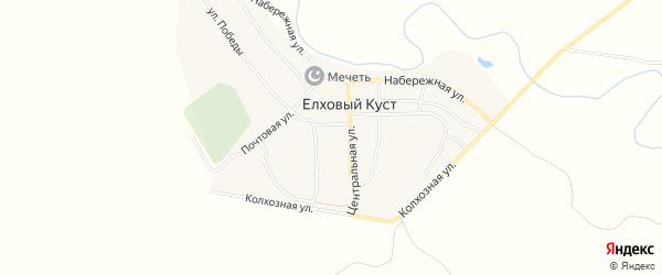 Карта села Елхового Куста в Ульяновской области с улицами и номерами домов