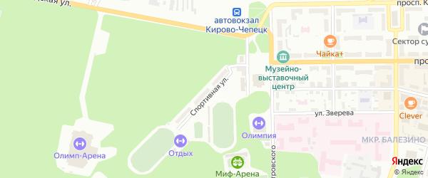 Спортивная улица на карте Кирово-Чепецка с номерами домов