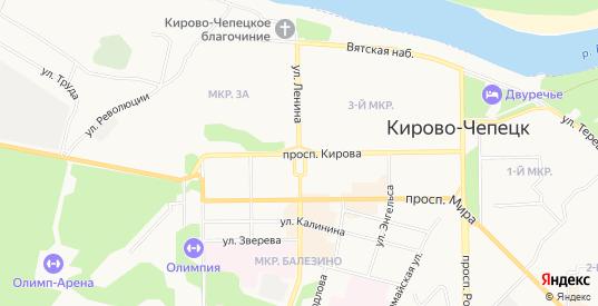 Карта деревни Ганинская в Кирово-Чепецке с улицами, домами и почтовыми отделениями со спутника онлайн