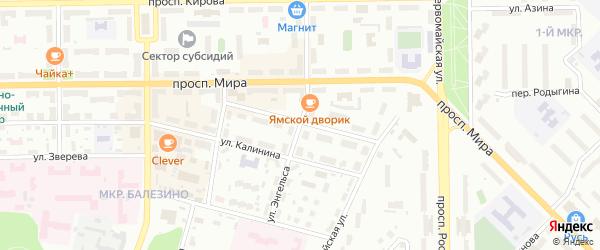 Улица Энгельса на карте Кирово-Чепецка с номерами домов