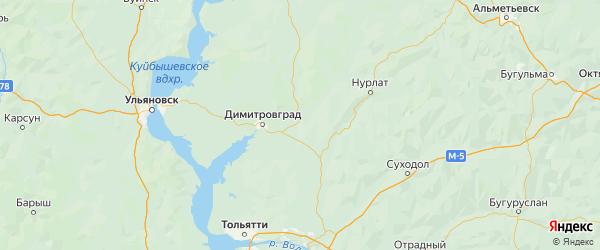 Карта Новомалыклинского района Ульяновской области с городами и населенными пунктами
