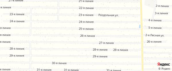 Улица 26-я линия на карте территории СНТ СН Воскресенки-ЗИМ Самарской области с номерами домов