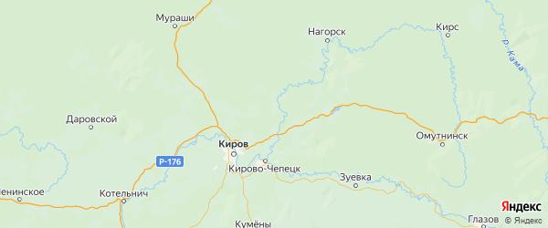 Карта Слободской района Кировской области с городами и населенными пунктами