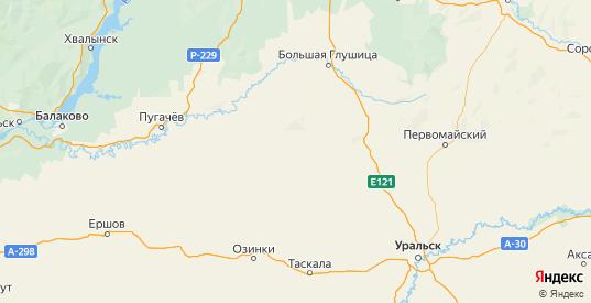Карта Перелюбского района Саратовской области с городами и населенными пунктами