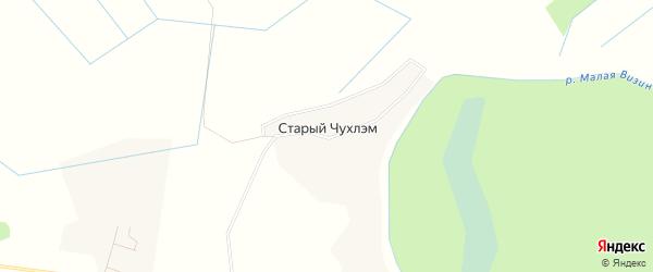 Карта деревни Старого Чухлэма в Коми с улицами и номерами домов