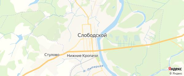 Карта Слободского с районами, улицами и номерами домов: Слободской на карте России