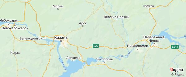 Карта Тюлячинского района Республики Татарстана с городами и населенными пунктами