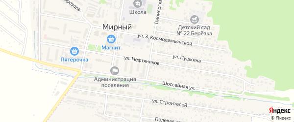 Улица Нефтяников на карте Мирного поселка Самарской области с номерами домов
