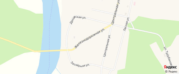 Железнодорожная улица на карте поселка Заозерья Коми с номерами домов