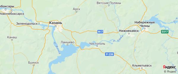 Карта Рыбно-слободского района Республики Татарстана с городами и населенными пунктами