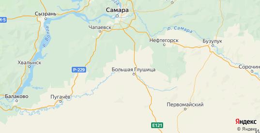 Карта Большеглушицкого района Самарской области с городами и населенными пунктами