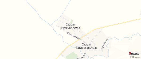 Карта деревни Старой Русской Амзи в Татарстане с улицами и номерами домов