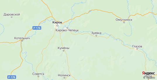 Карта Кирово-чепецкого района Кировской области с городами и населенными пунктами
