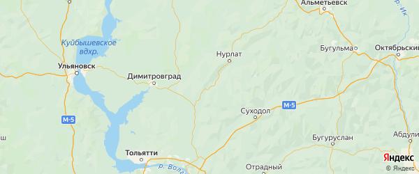 Карта Кошкинского района Самарской области с городами и населенными пунктами